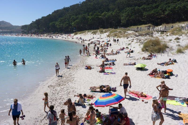 Playa de Rodas en la isla de Cies imagen de archivo