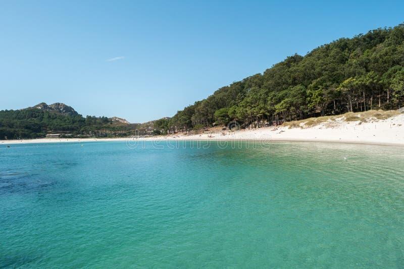 Playa De Rodas na Cies wyspach Hiszpania zdjęcia royalty free