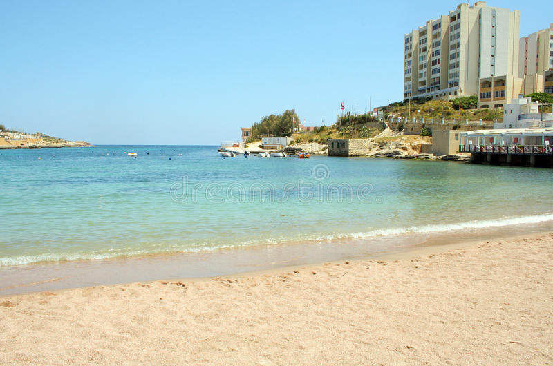 Playa de San Jorge, Paceville, ` juliano s, Malta del St fotos de archivo