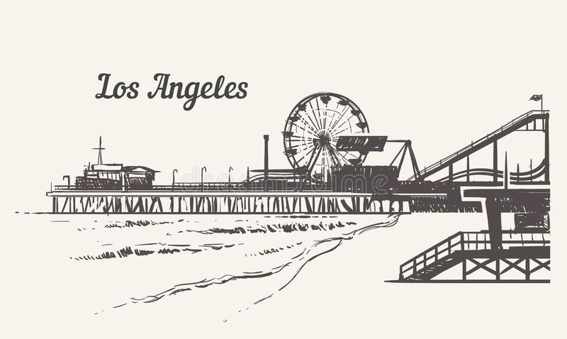 Playa de Santa Monica con un bosquejo del parque de atracciones Ejemplo exhausto del vector del vintage de la mano de Los Angeles libre illustration