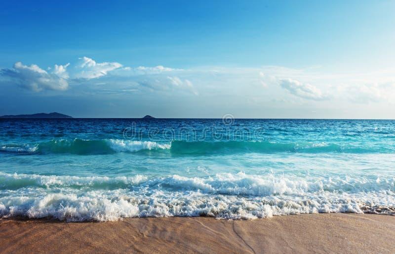 Playa de Seychelles en tiempo de la puesta del sol imágenes de archivo libres de regalías