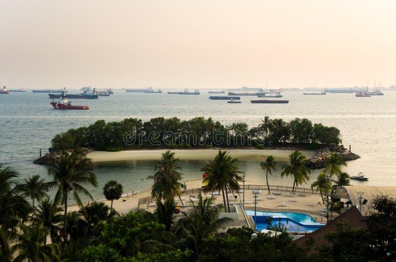 Playa de Siloso en la isla de Sentosa foto de archivo