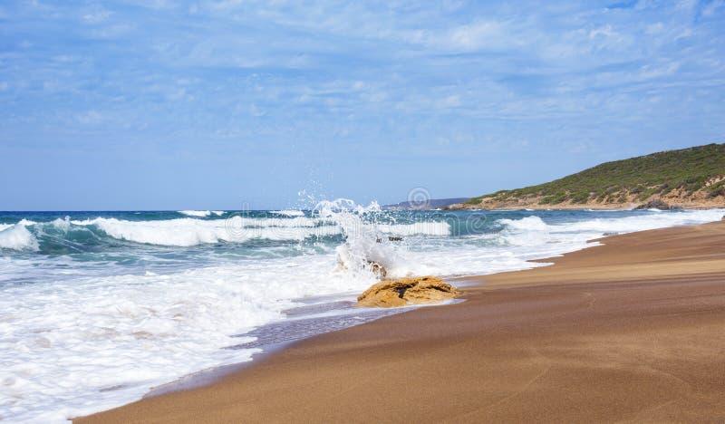 Playa de Spiaggia di Piscinas en Cerdeña, Italia fotos de archivo