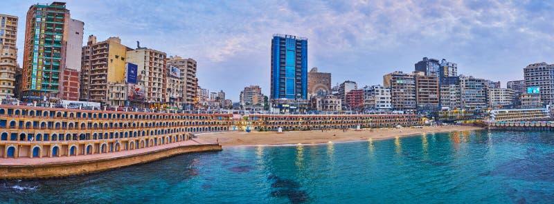 Playa de Stanley de la tarde, Alexandría, Egipto imágenes de archivo libres de regalías