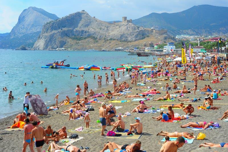 Playa de Sudak, Crimea imagen de archivo