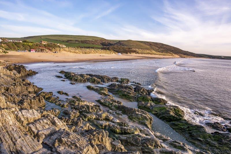 Playa de Woolacombe en Devon del norte en Inglaterra imagenes de archivo