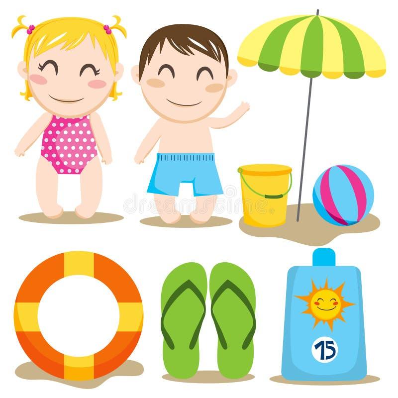 Playa del bebé stock de ilustración