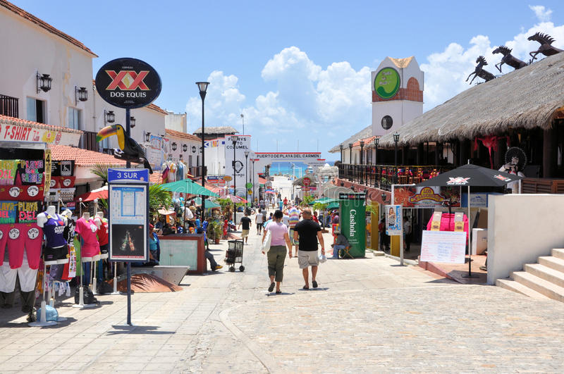 Playa del Carmen. Image of Playa del Carmen street stock images
