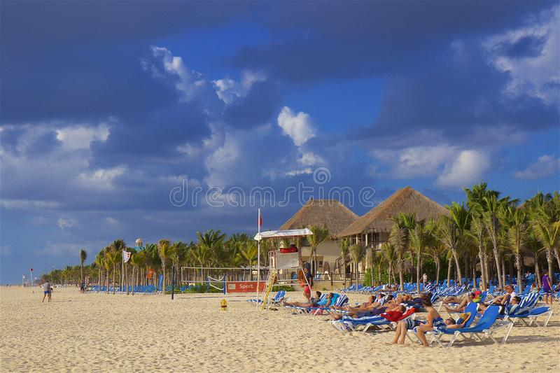 Playa del Carmen beach, Mexico. Playacar and Playa del Carmen beach, Mexico royalty free stock photos