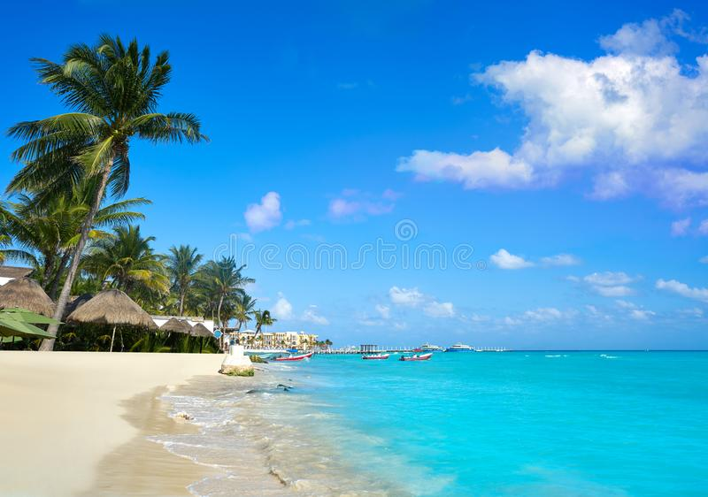 Playa del Carmen beach in Riviera Maya. Caribbean at Mayan Mexico stock images