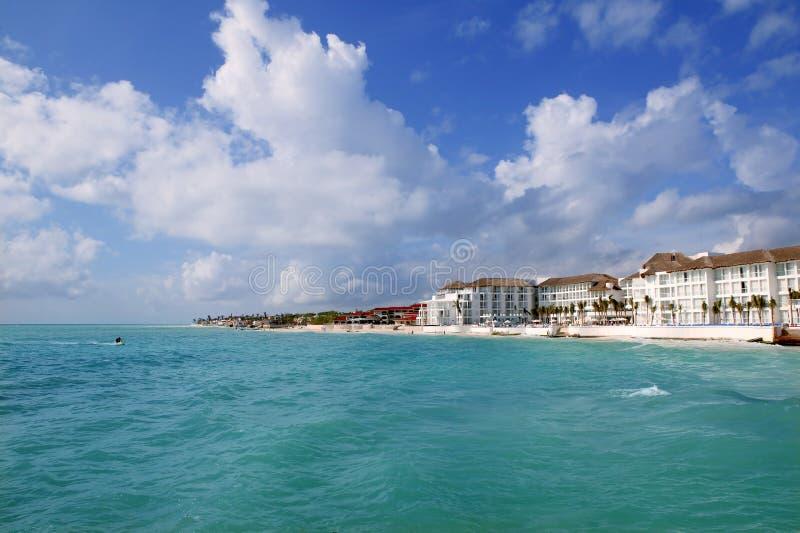 Playa del Carmen Caribbean turquaoise beach stock photo