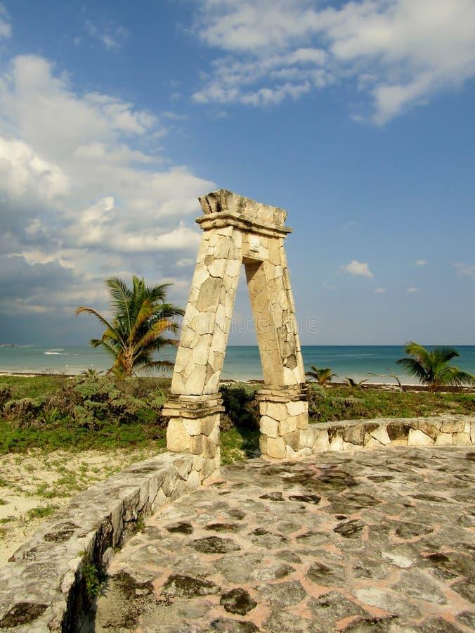 Playa Del Carmen linia brzegowa w Riviera majowiu Karaiby przy Majskim Meksyk obraz stock