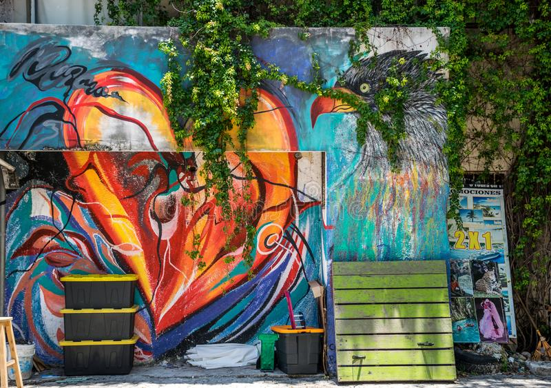 Colorful 5th Avenue Mural in Playa Del Carmen, Mexico royalty free stock image