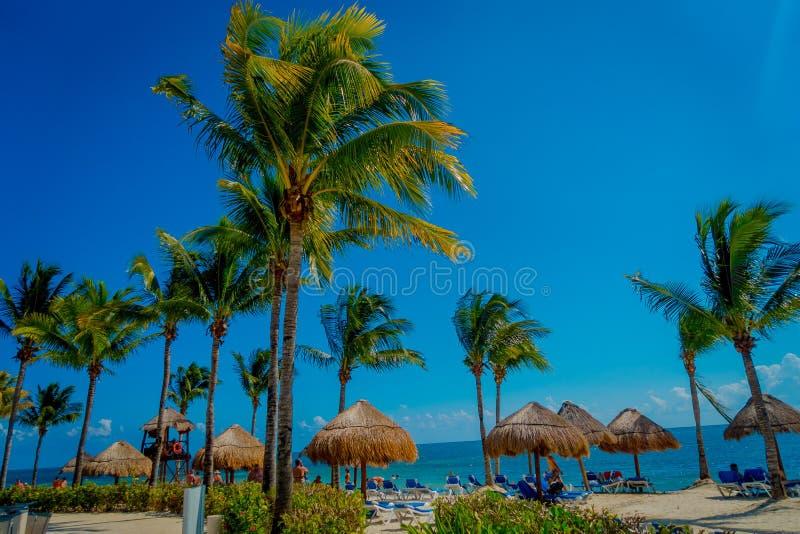 PLAYA DEL CARMEN, MEXICO - NOVEMBER 09, 2017: Niet geïdentificeerde toeristen op het strand van Playacar bij Caraïbische Zee in M stock afbeelding