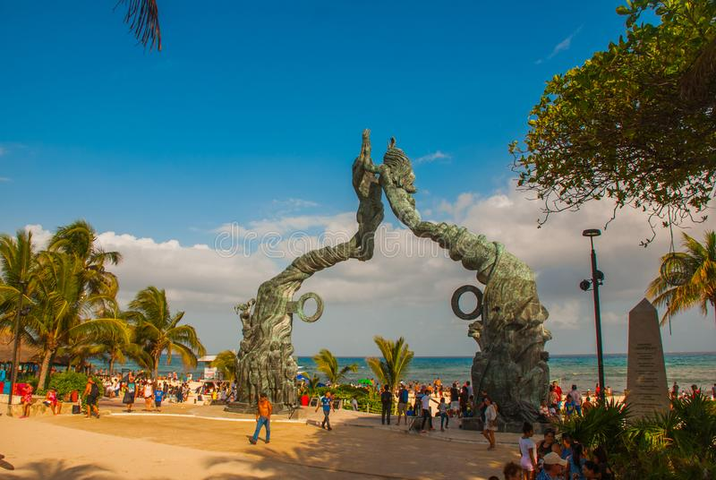PLAYA DEL CARMEN, MEXICO: Portal Maya, Maya gates at the entrance to the beach, a monument to men and women, Riviera Maya. PLAYA DEL CARMEN, MEXICO: Portal Maya royalty free stock photos