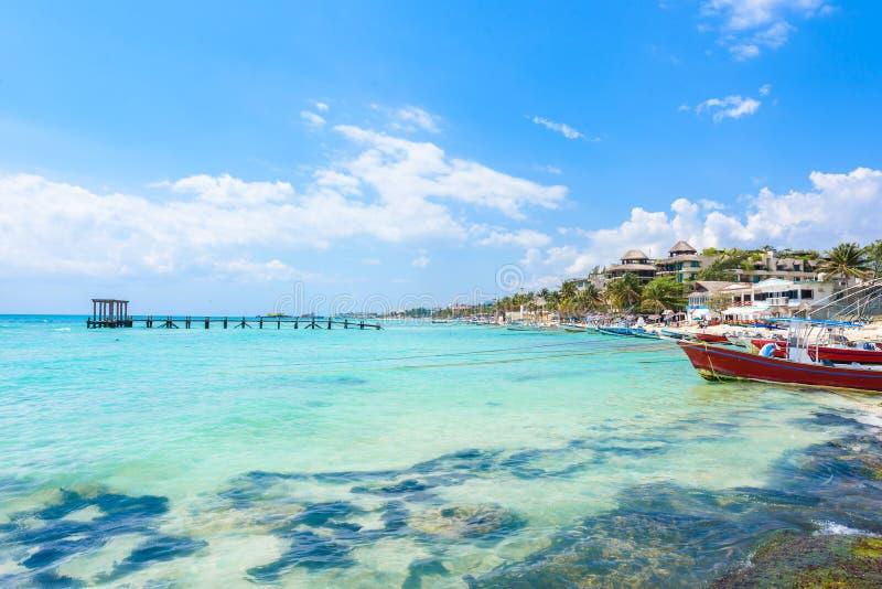 Playa del Carmen - paradise beach and city at caribbean coast of Quintana Roo, Mexico stock photo