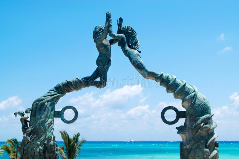 Playa del Carmen Portal Maya sculpture in Mexico. Mayan riviera stock photography