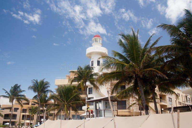 Playa del Carmen View av den centrala delen av stranden, turism E arkivfoto