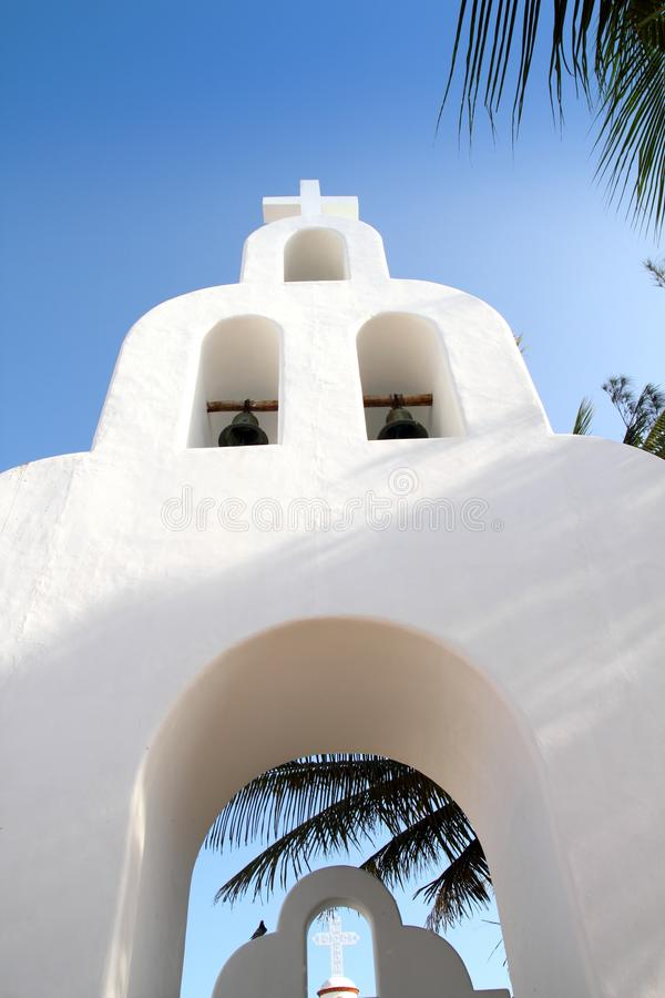 Download Playa Del Carmen White Mexican Church Archs Belfry Royalty Free Stock Photos - Image: 18999508