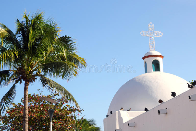 Download Playa Del Carmen White Mexican Church Archs Belfry Stock Photos - Image: 20777263