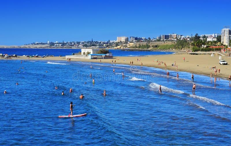 Playa del Ingles kustlijn in Maspalomas, Gran Canaria, Spanje stock fotografie