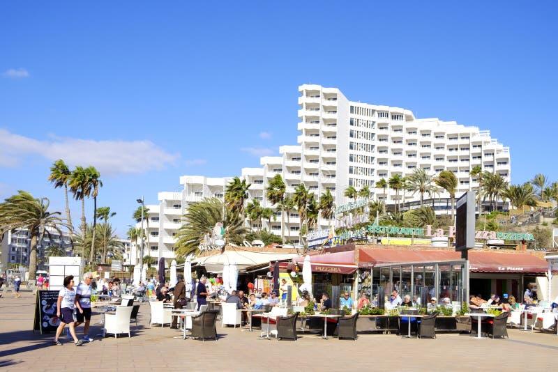 Playa del Ingles in Maspalomas, Gran Canaria, Spanje royalty-vrije stock foto