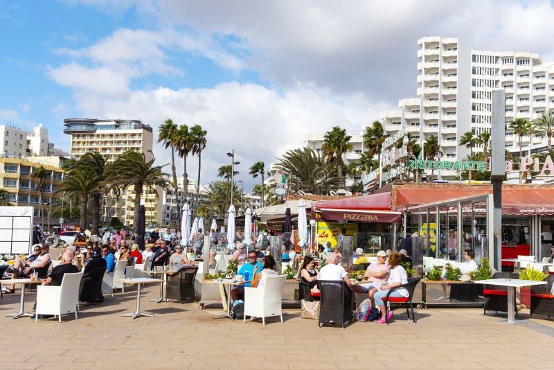 Playa del Ingles, Maspalomas, Gran Canaria, Spanje stock fotografie