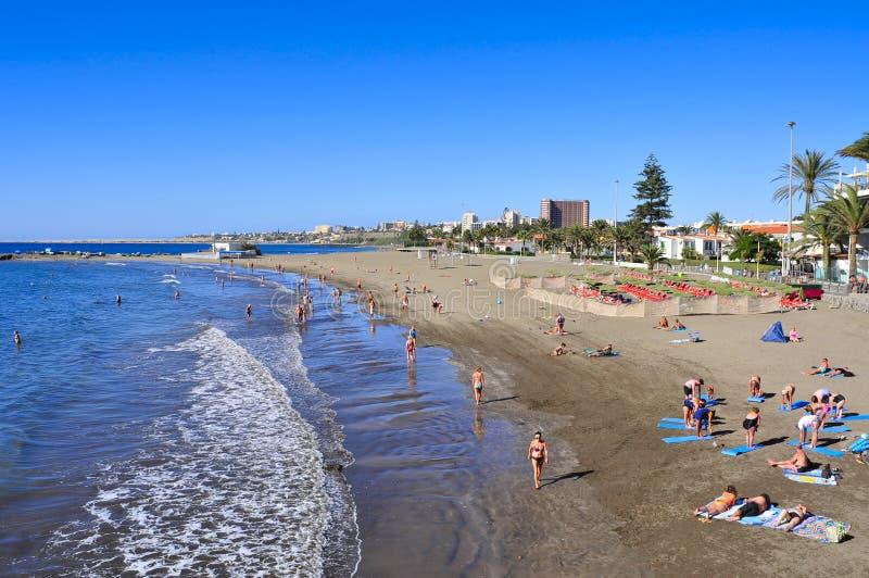 Playa del Ingles strand in Maspalomas, Gran Canaria, Spanje stock afbeeldingen