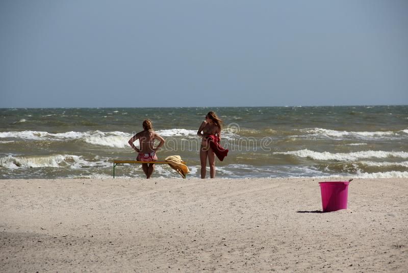Playa del mar de Azov imagenes de archivo