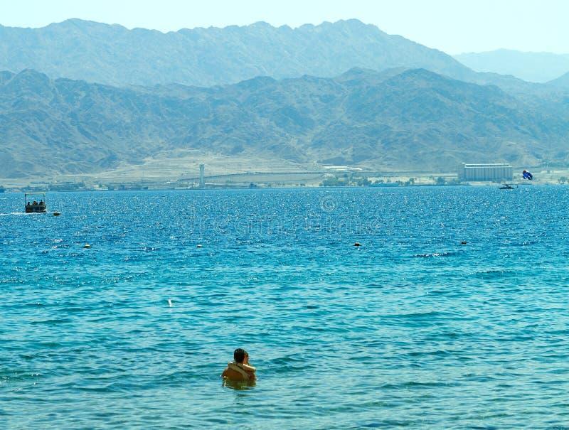 Playa del Mar Rojo del centro tur?stico de Eilat fotos de archivo