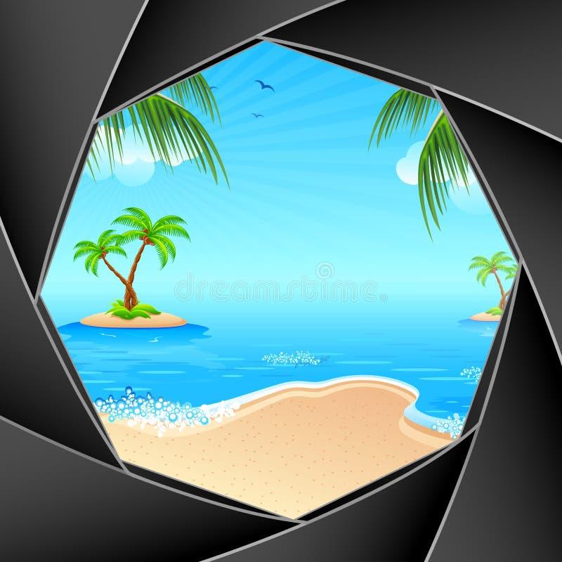 Playa del mar a través del obturador stock de ilustración