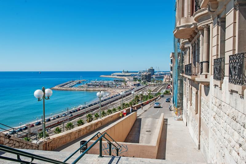 Playa del miracle beach in Tarragona, Spain. The photo was taken on August 9, 2013 on the famous Mediterranean balcony.  stock photo