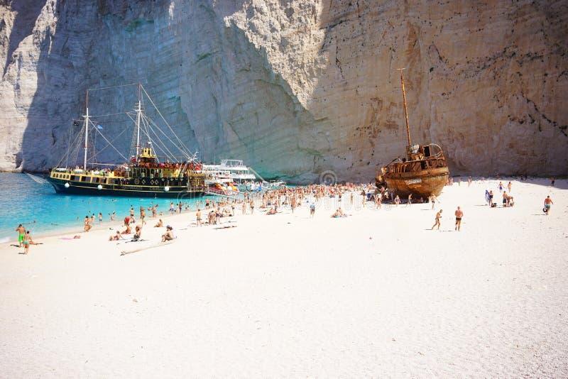 Playa del naufragio de Navagio fotografía de archivo