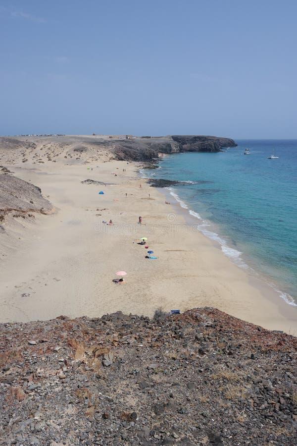 Playa del papagayo de Punta, Lanzarote, isla de los canarias imagen de archivo libre de regalías