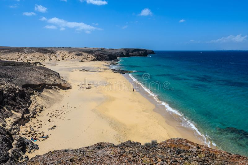 Playa del Pozo em Lanzarote, Espanha fotos de stock royalty free