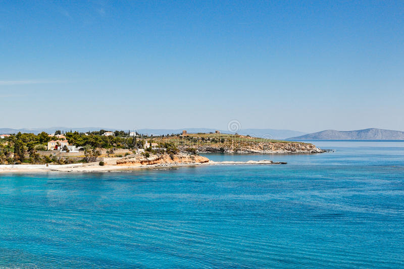 Playa del puerto deportivo de Agia en Spetses, Grecia fotografía de archivo libre de regalías