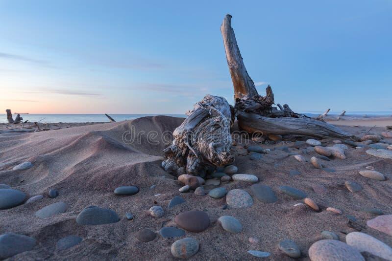 Playa del punto del pescado blanco - península superior de Michigan fotos de archivo