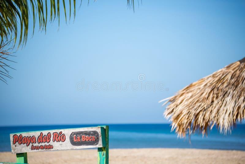 Playa del Rio, La Boca, Cuba. Blue sky royalty free stock image