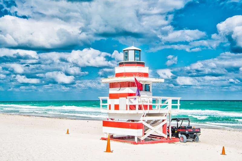 Playa del sur, Miami, la Florida, casa del salvavidas fotos de archivo libres de regalías