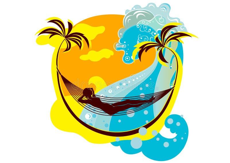 Playa del verano ilustración del vector