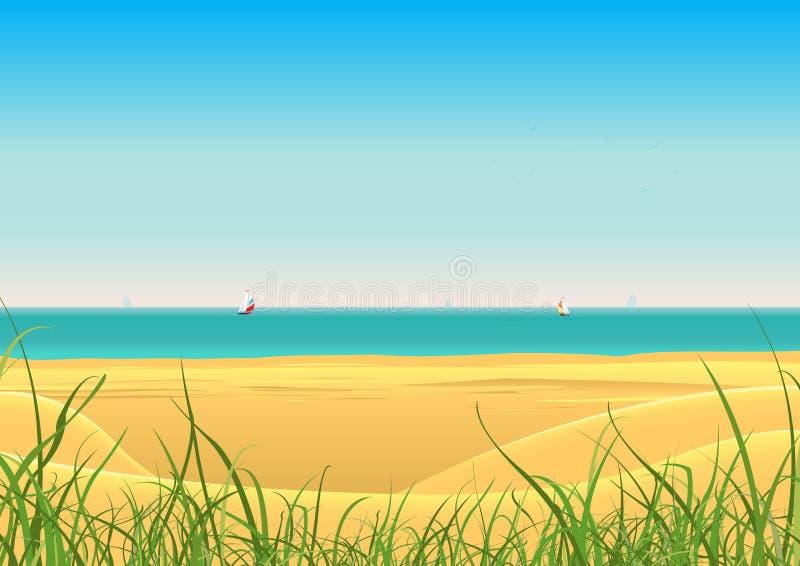 Playa del verano con el fondo de la postal de los barcos de vela ilustración del vector
