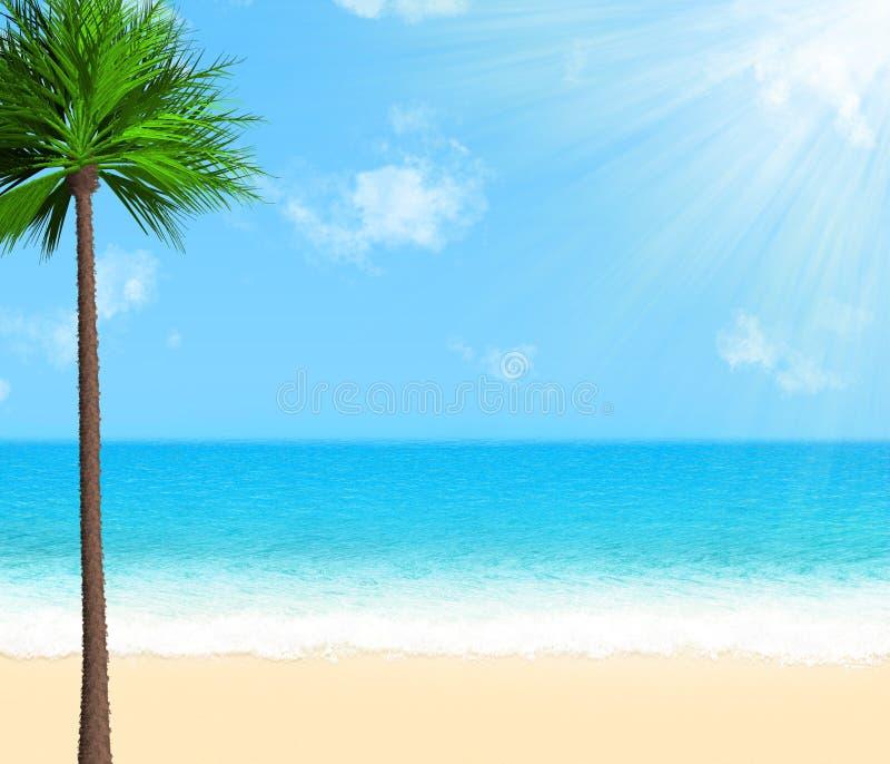 Playa del verano con la palmera, las nubes y la sol fotos de archivo