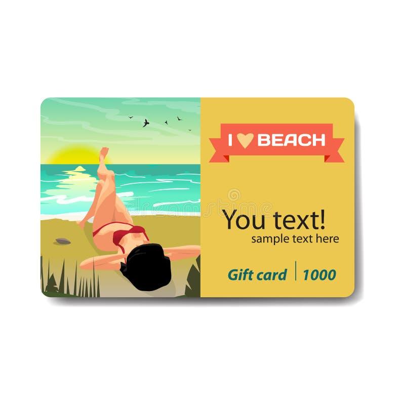 Playa del verano del paisaje del mar, palmas y una playa privada en la puesta del sol stock de ilustración