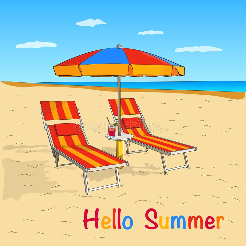 Playa del verano Opinión del mar con el paraguas y el sillón Fondo del concepto de las vacaciones de verano Ilustración del vecto ilustración del vector