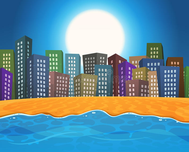 Playa del verano por la ciudad ilustración del vector