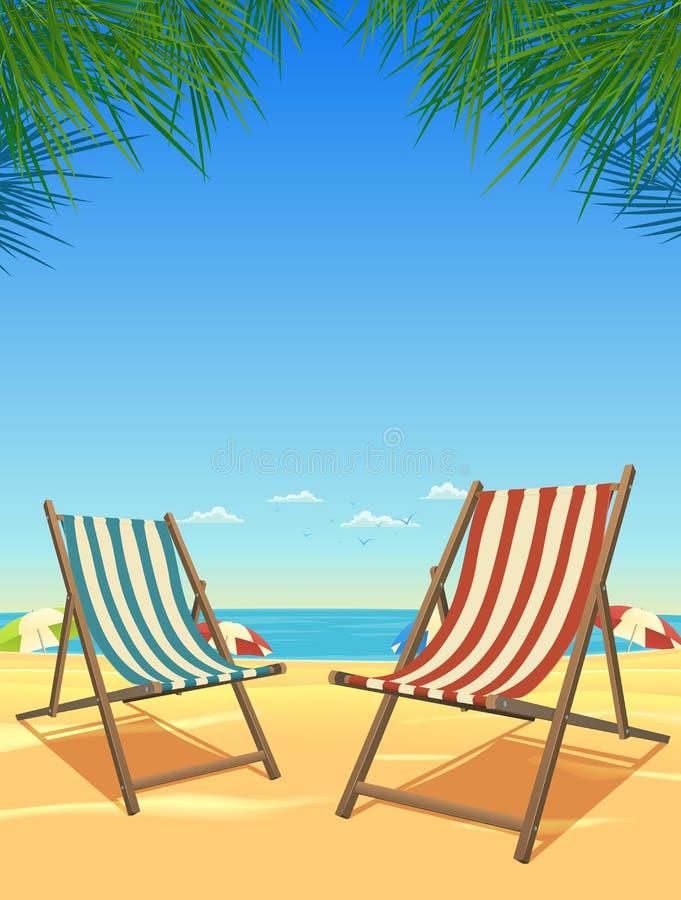 Playa del verano y fondo de las sillas ilustración del vector
