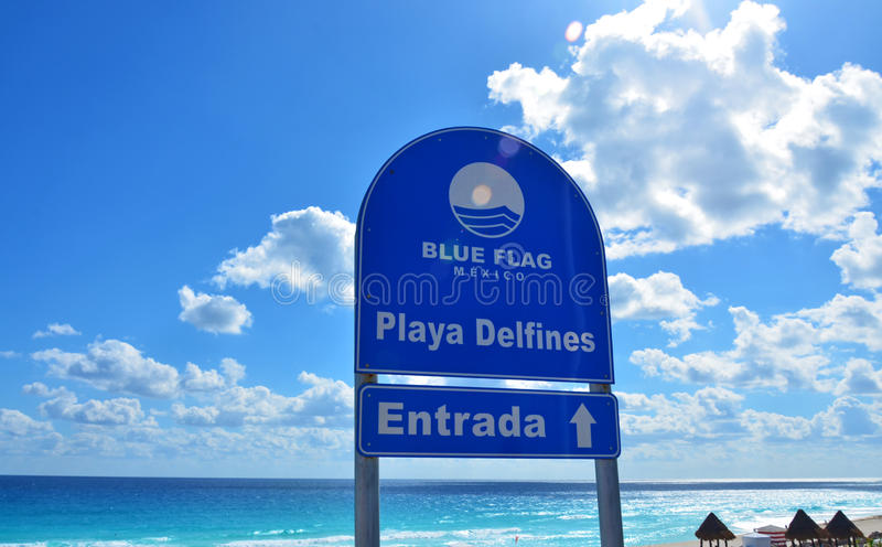 Playa Delfines. Caribbean sea beach stock image