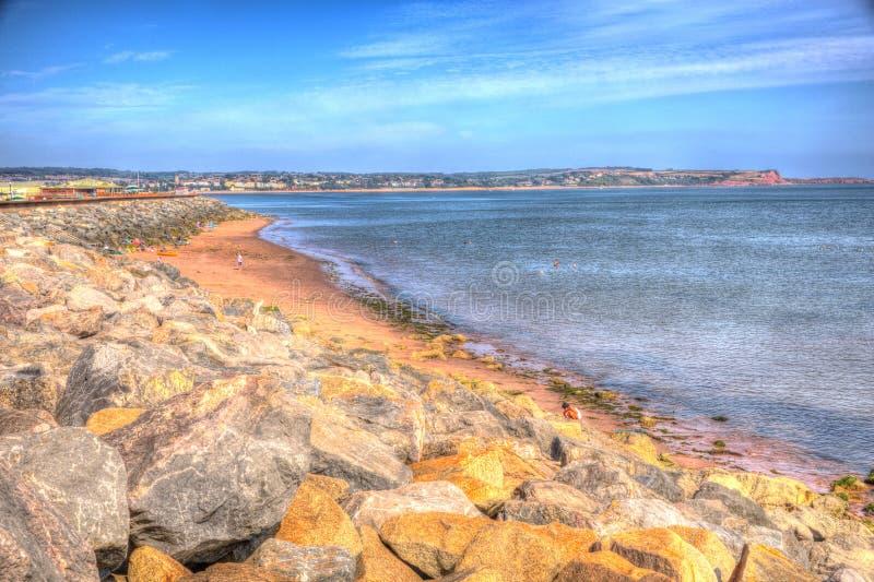 Playa Devon England de Dawlish Warren en un día de verano en HDR fotografía de archivo