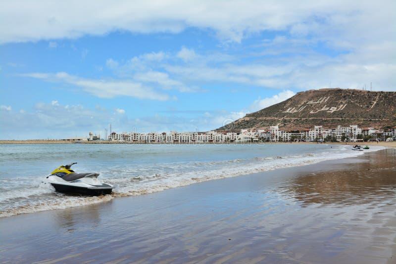 Playa en Agadir, Marruecos ?frica foto de archivo