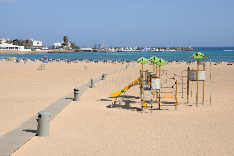 Playa en Caleta de Fuste, Fuerteventura fotos de archivo